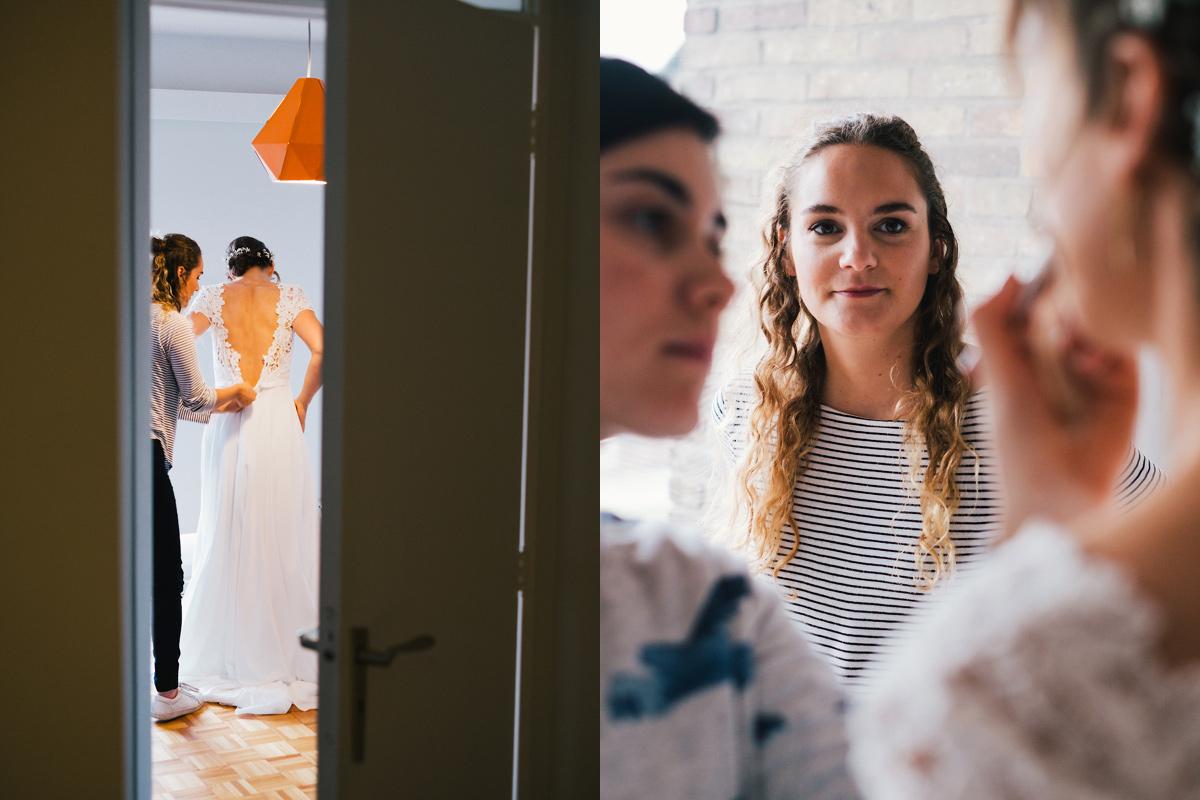 huwelijksfoto's bruid maakt zich klaar