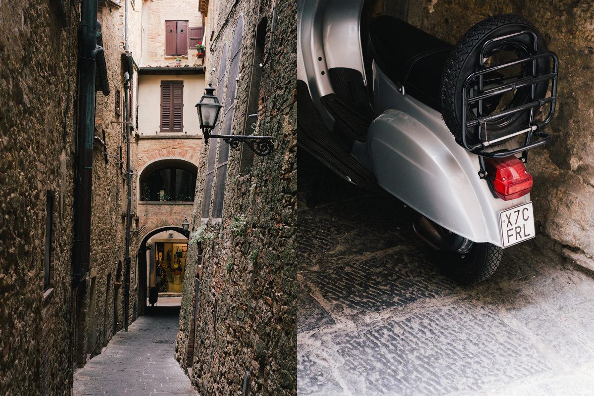 De enigste Vespa Voltera Toscane Italië.