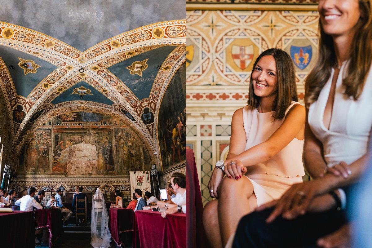 getuigen gemeentehuis Voltera Toscane Italië.