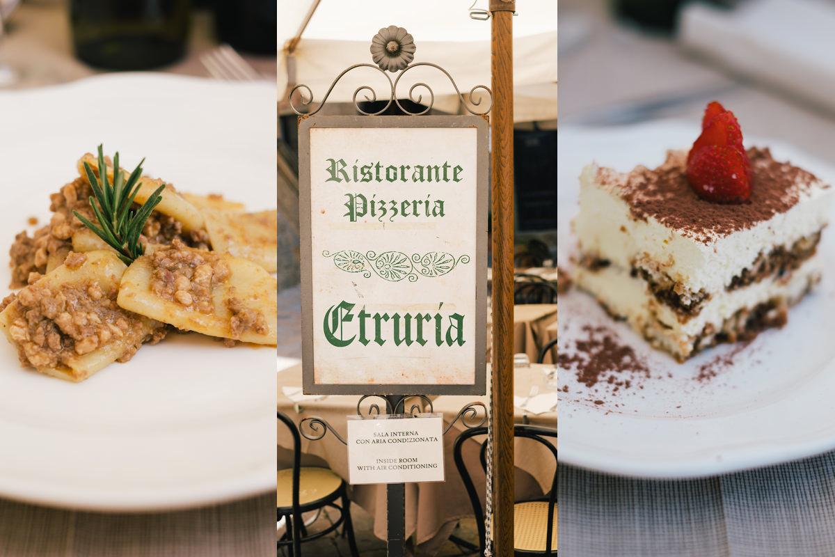Restaurant dorpsplein huwelijksfeest in Voltera Italië.