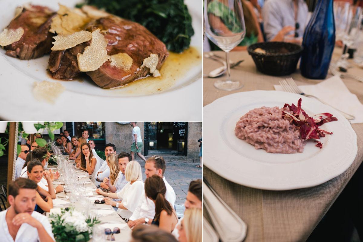 Lekker eten op het dorpsplein huwelijksfeest in Voltera Toscane Italië.