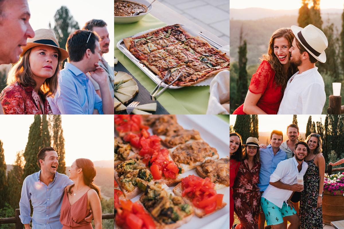 Lekker eten met de perfecte Toscaanse ondergaan de zon.