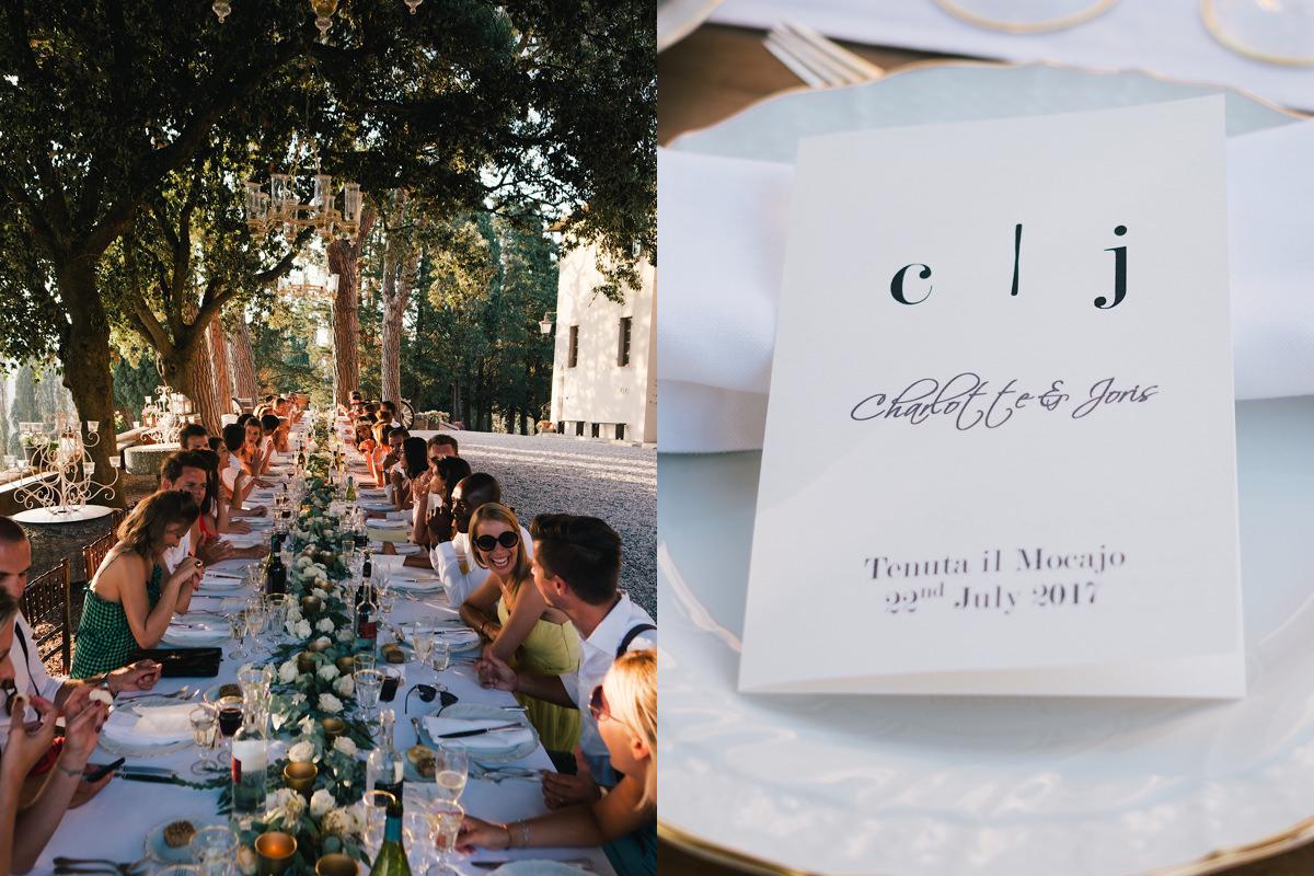 Lange tafel openlucht huwelijksfeest