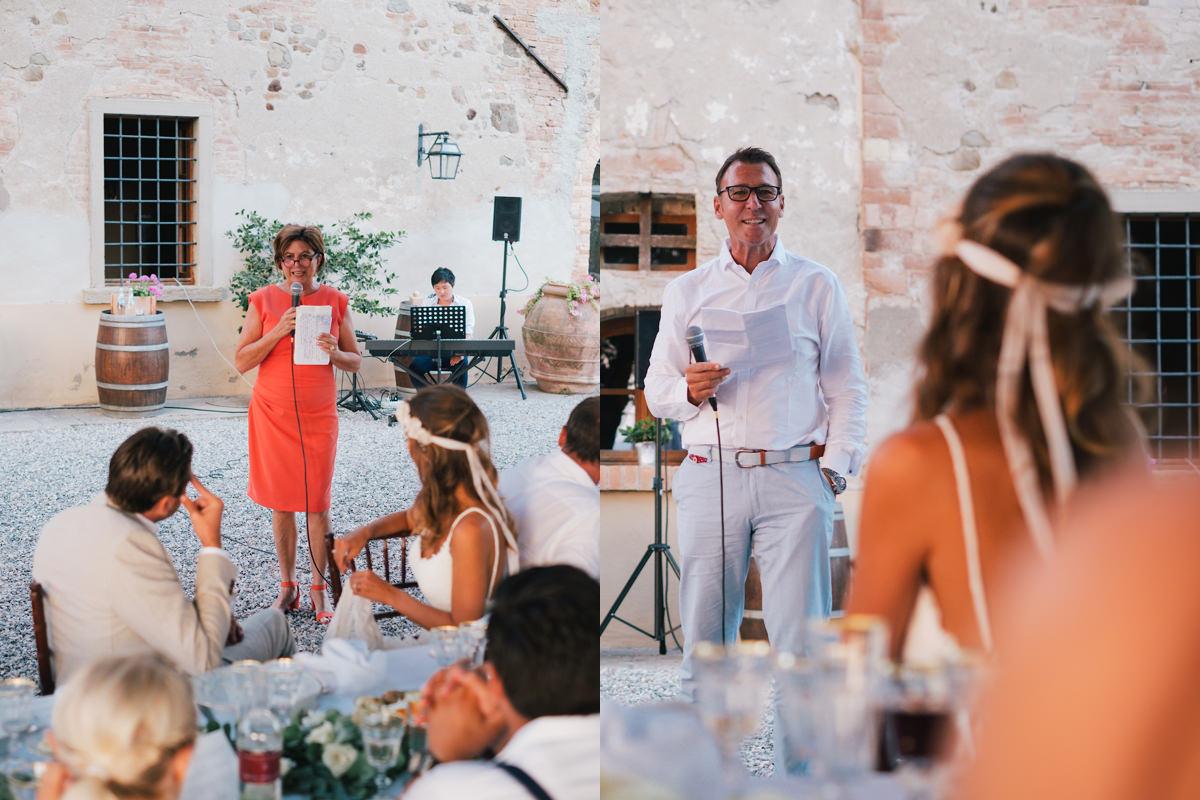 Speech van de vader en moeder Huwelijksfeest Italië
